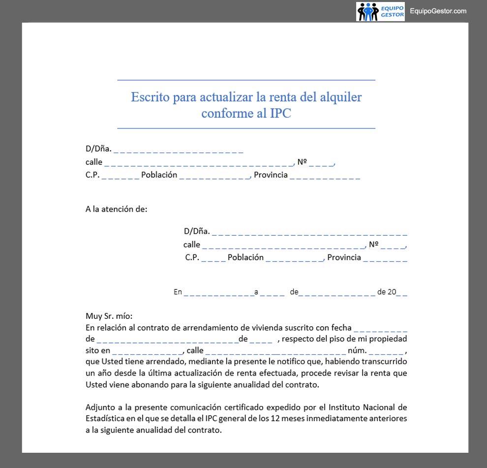 Escrito para actualizar la renta del alquiler conforme al IPC