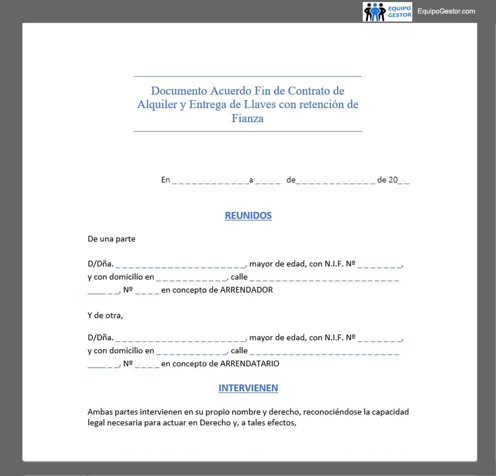 documento acuerdo fin contrato alquiler retencion fianza