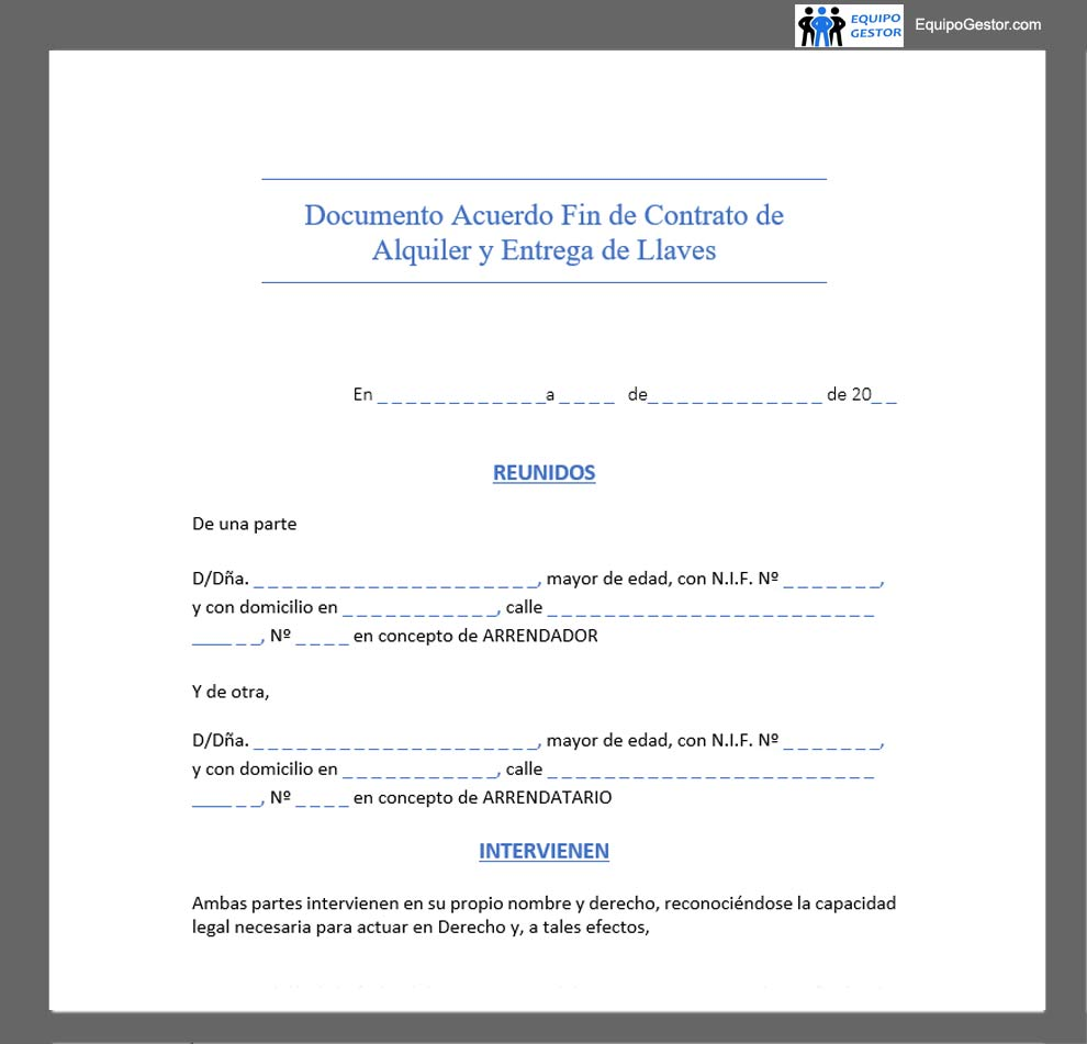 documento acuerdo fin contrato alquiler